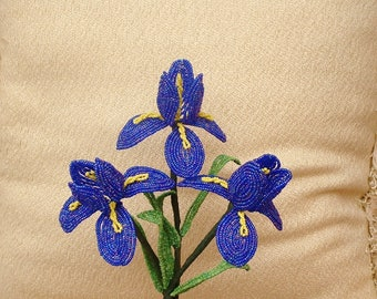 3 Handmade Dark Blue/ Purple Iris's .. French Beaded Flowers