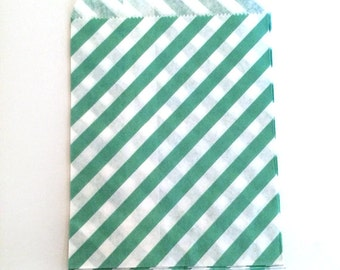 paper bags - treat bag - wedding favor bags - flat paper bag - gift bags - kraft paper bags - diagonal stripes bags - set of 12 bags - jade