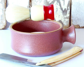 Ceramic Shaving Mug / Ridges for a Good Lather / Comfortable Handle / Made to Order