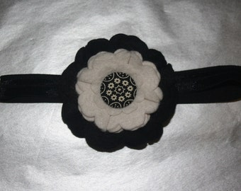 Vintage 60/70's Styled Boutique Flower Headband (13.5 inches Normally Fits NB-6M)