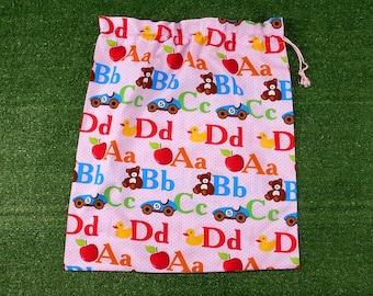 Girls drawstring library bag or kindy sheet bag, pink alphabet ABC bag