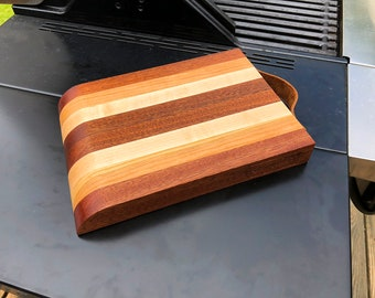 Sapele, Maple and Cherry Barboard with Leather Strap Handle