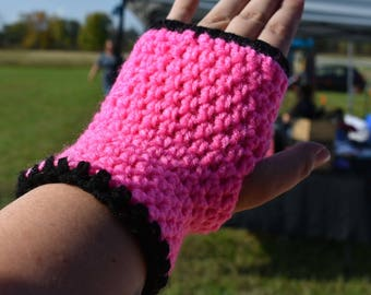 Vegan Crochet Fingerless Mittens in Red, Green, Black, Yellow, Blue and Pink, Ready to Ship