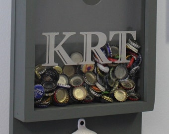 Personalized BEER/Bottle Cap Holder/Bottle Opener/Beer Decor/Bar Decor/Father's Day/Man Gift/Engraved/Christmas Gift/Beer Cap Box/Shadow Box