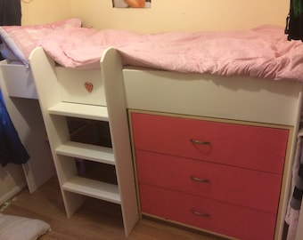 Childrens mid sleeper bed with Storage