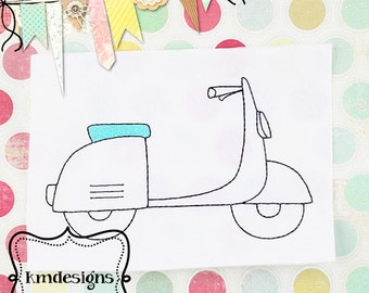 Vintage Scooter Redwork Digital ITH Embroidery Design 4x4 and 5x7