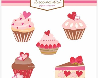 ON SALE Pink Cupcake Clip Art // Digital Clip Art Cup Cakes, Sale clipart, cupcake sweety , pink Cupcakes, valentines day Clip Art