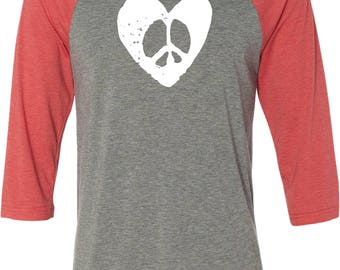 Men's Hippie Heart Peace Raglan Shirt HIPPIEHEART-3200