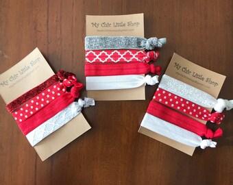 Set of 4 Elastic Hair Ties - Valentine Theme