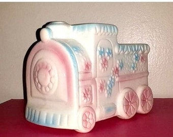 Vintage Baby Planter, Train Planter, Baby Vase, Pastel Train, Trinket Dish, Baby Shower, Nursery Decor, Shower Gift, Cake Topper, 1960s