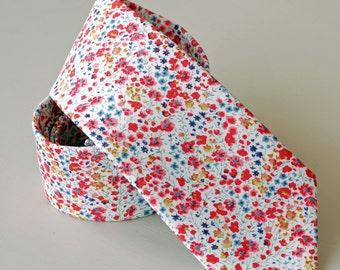 Floral tie  - Liberty tie - mens tie - coral tie - Liberty print tie Phoebe coral