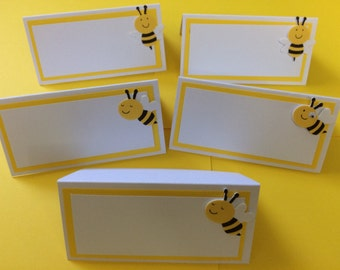 Baby bee place cards, 12 bee baby shower, food labels, menu cards seating cards, yellow bumble bee, yellow bee baby,  elegant place cards,