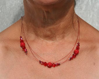 Red wedding bridal necklace