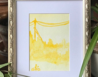Yellow Watercolor Matted Print