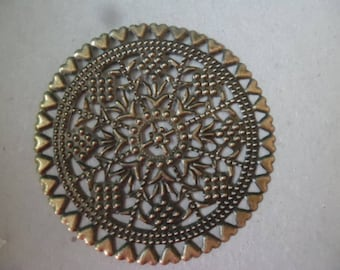 x 2 large flower filigree connectors bronze 6 cm