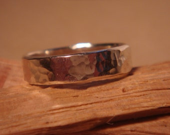 Handmade Sterling Silver Ring with a Hammered Texture