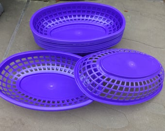 PURPLE Food Baskets, Food Tray, Party Baskets, Use for Party, Picnic, BBQ, Events