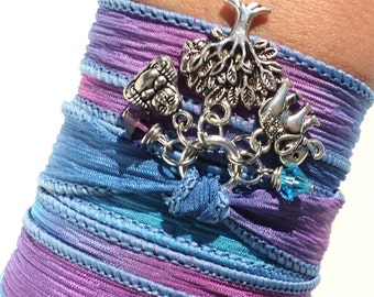 Silk Wrap Bracelet Yoga Jewelry Buddha Tree of Life  Bohemian Boho Upper Arm Band Ganesha Bat Mitzvah Unique Gift For Her Under 50 Item Z22
