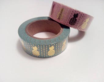 Pineapple Foil Washi Tape in pink or blue