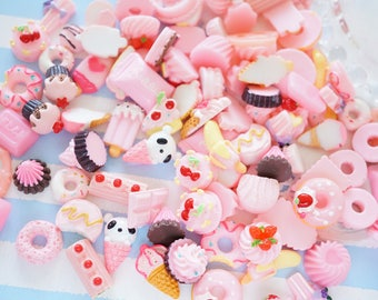 10 pcs Pink Sweets Food Cabochon (9-25mm) Chocolate Doughnut Cake Ice cream Cookie ..etc CD711