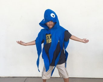 Blue Octopus Cape, Halloween Costume or Dress Up Cape