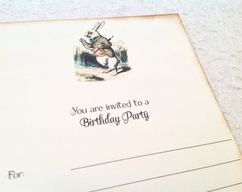 Fill in Blank Birthday Invitations-Alice in Wonderland White Rabbit Invitations-Blank Party Invitations-Set of 10
