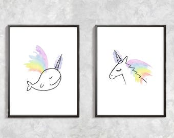 Unicorn Unicorn Fish Print, Unicorn art print, unicorn printable art, watercolor unicorn, rainbow, kids room decor, digital download art