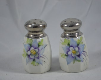 Vintage salt and pepper shakers blue purple flowers white ceramic blue
