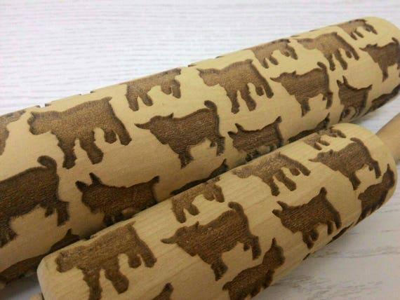 Rolling Pin Wooden Laser Cut Pygmy Goats Nanny-goats Pattern
