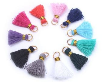 Cotton Tassels - 10 pieces - 20mm - Multi Colour - Jewelry Making - Craft Supplies