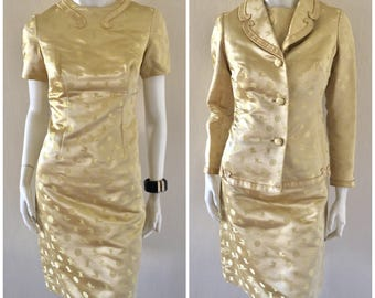 1960's Seymour's Fashion Inc. Oriental Gold Lame Satin 2 Pcs Coat & Wiggle Dress Mad Men/Secretary/ Sz S-M