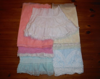 Vintage Ladies Lingerie Nighties Scraps - Vintage Blue Lavender White Nylon Lace Nightgown Fabric Pieces - Vintage Lace Nylon Scraps Lot
