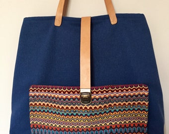 Handwoven tote bag - leather, canvas and handwoven pocket