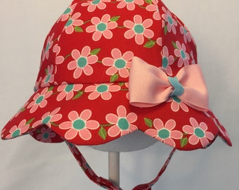 Baby Sun Hat -  Baby Girl Sun Hat - Baby Hat - Baby Girl Hat - Toddler Hat - Chin Strap