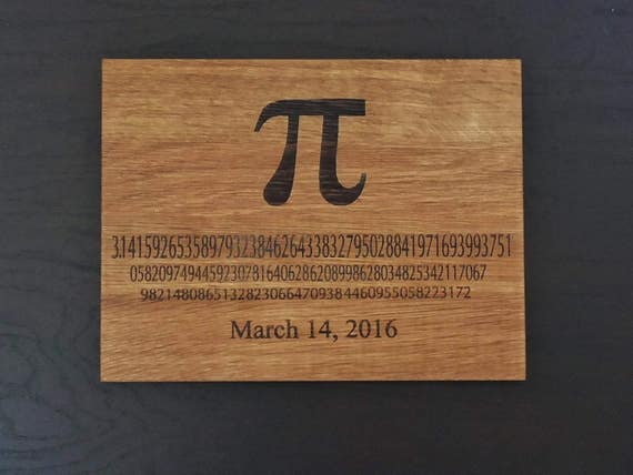 Pi Day engraved cutting board or serving board. Math themed cutting board, great geek gift, graduation gift or teachers gift!