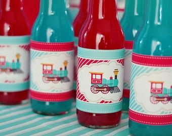 INSTANT DOWNLOAD - DIY printable soda bottle wrappers- choo choo train