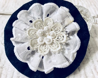 Handmade Flower, Blue Denim Rosette, White Eyelet Lace, Package Topper, Brooch, Applique, Embellishment, Yo Yo, Headband Bow, Hat, Bag Trim