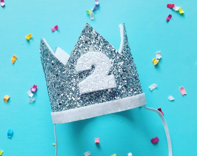 Birthday Crown || White and Silver Birthday || Silver Crown || Birthday Girl || 2nd Birthday || Baby Crown || Birthday