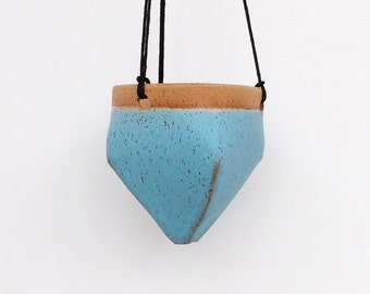 Medium Ceramic Hanging Planter in Turquoise / House Plants, Succulents, Air Plants or Cacti / The Valley Planter / READY TO SHIP