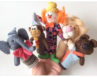 Finger puppets (knitted, wool feelted) CIRCUS /Marionnettes wool has fingers circus was and knitting wool