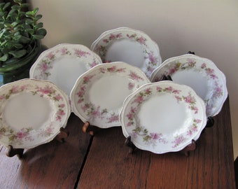 6 Vintage Silesia Bread Plates Dessert Plates China Dinner Side Plates Pink Flowers Green Leaves Embossed Scallop Edge Germany Wedding Party