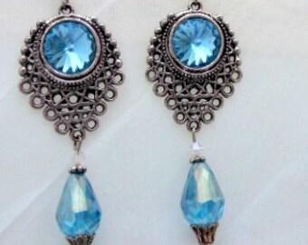 Wedding Victorian Chandelier Crystal Aqua crystal blue drop silver earrings