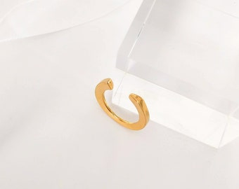 ouvrir bague en or, bague ouverte en or, bague or large ouvert, bague superposable, argent massif, Vermeil d'or jaune, bague ouvert minimaliste