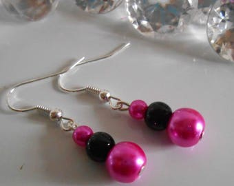Authentic wedding Pearl Earrings Fuchsia and black