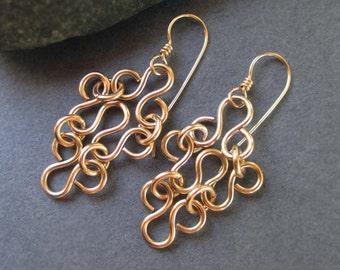 14k Gold Filled Earrings Gold Filigree Earrings Artisan Handmade Gold Dangle Earrings Gold Lace Metal Jewelry Bridal Wedding Jewelry
