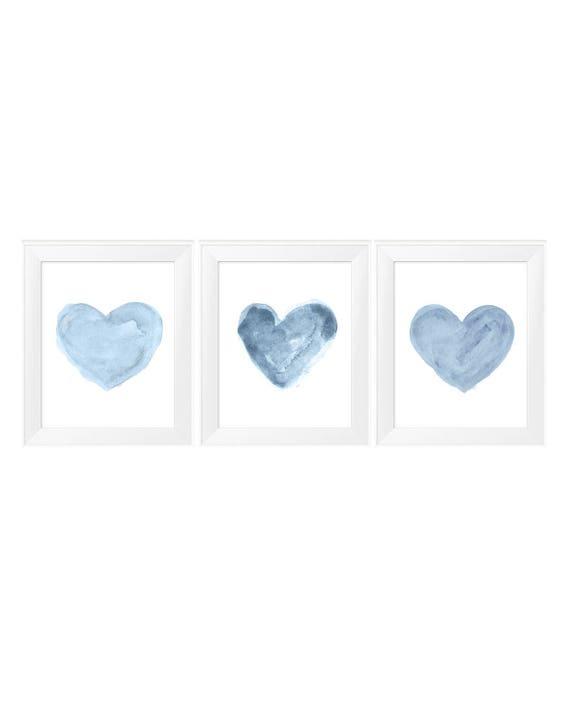 Blue Hearts Nursery Print Set, 11x14 Set of 3