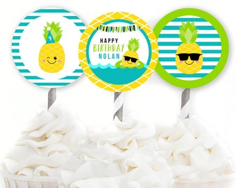Pineapple Party, Custom Cupcake Toppers, Pineapple Decor, Boy's Birthday, Pineapple Birthday, Pool Party Decor, Party Printables, #75