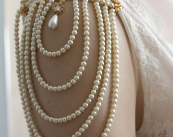 Shoulder Epaulettes Bridal Jewelry Accessories Ivory Pearls And Rhinestones,1920 Inspiration Shoulders Necklace,Wedding