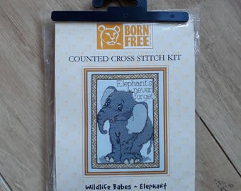 Born Free Wildlife Babes - Elephant Counted Cross Stitch Kit, Elephant Cross Stitch Kit, Elephants Never Forget Cross Stitch Kit