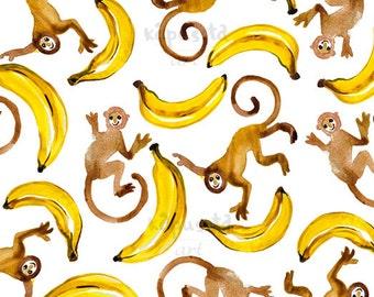 Happy Monkeys tropical Digital Download Art printable, yellow and brown animal watercolor art, watercolor painting, art craft supplies